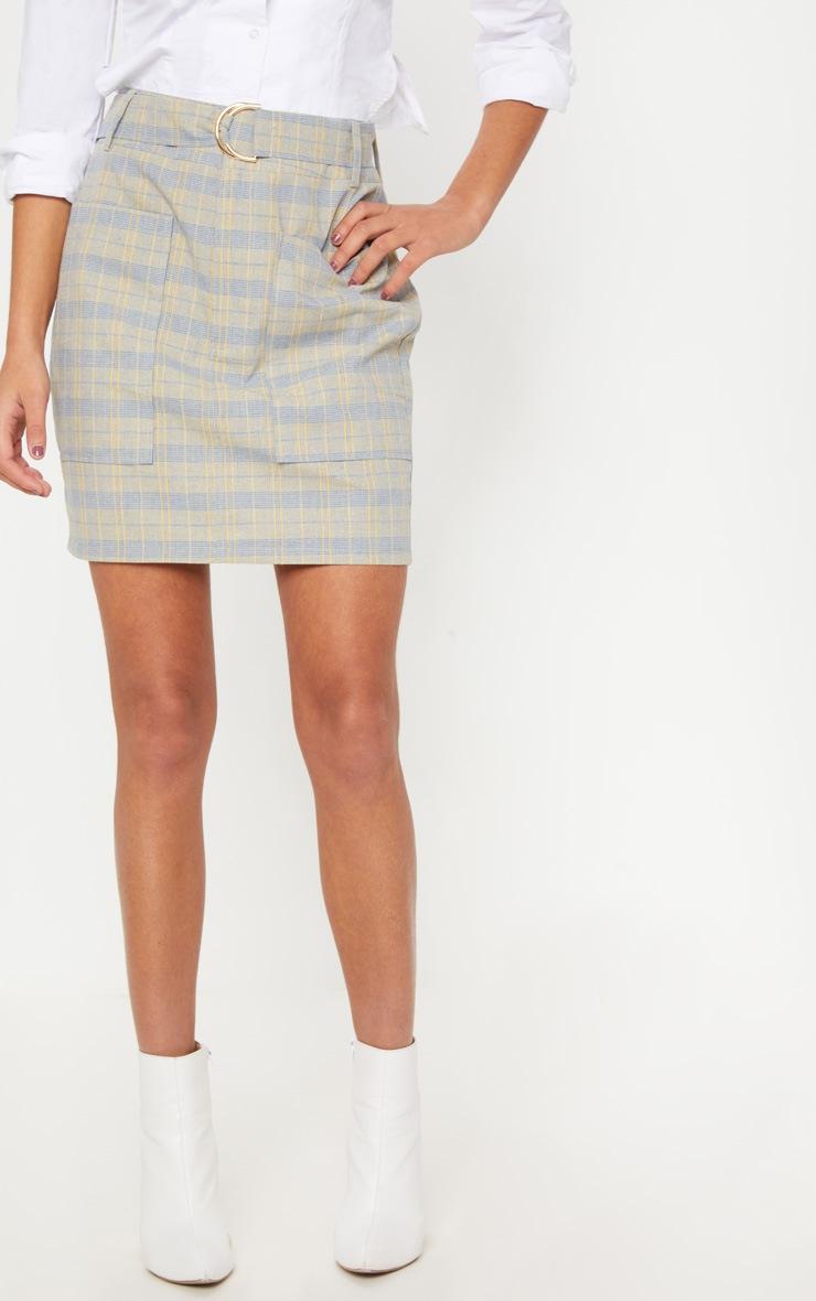 Navy Check Pocket Detail Mini Skirt 2
