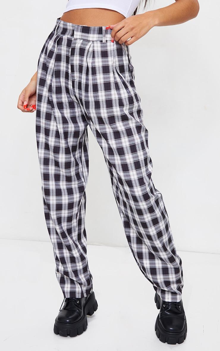 Black Check Woven High Waisted Cigarette Pants 2