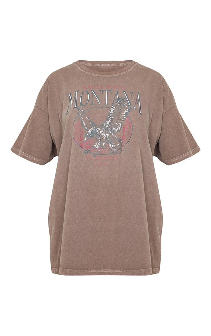 T-shirt oversize chocolat à slogan Montana 5
