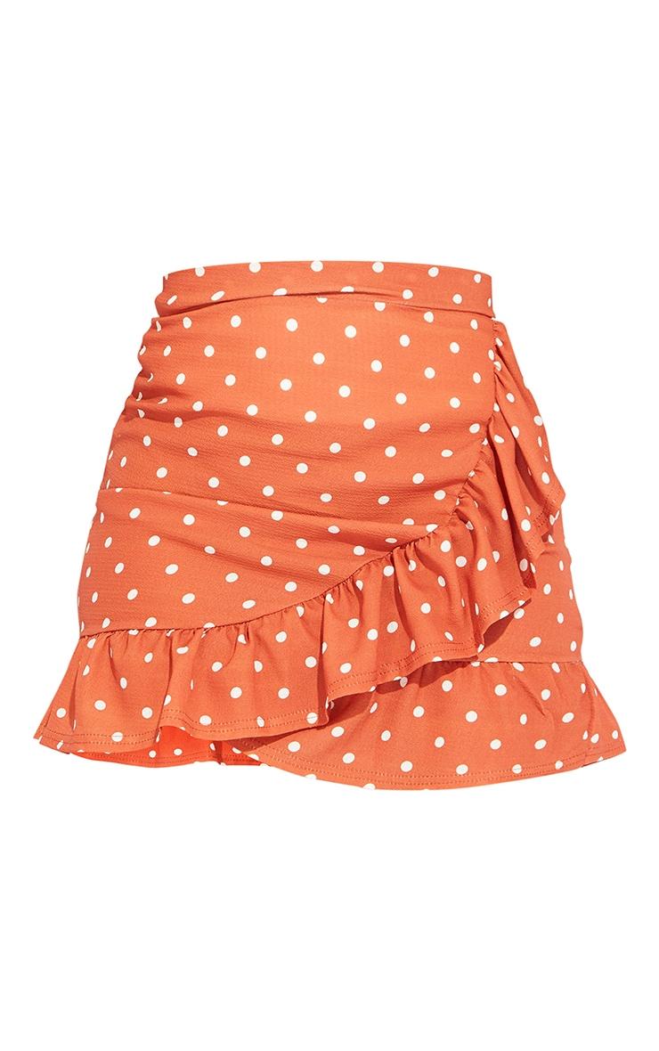 Rust Polka Dot Frill Hem Wrap Skirt 6