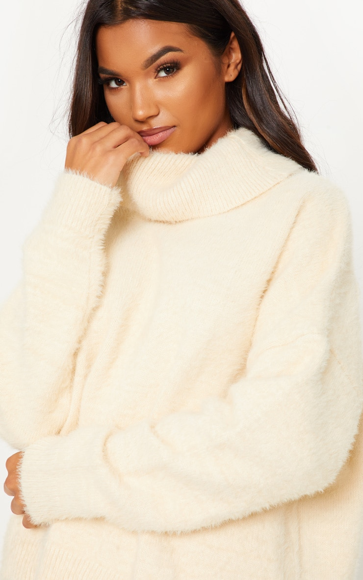 Cream High Neck Eyelash Knitted Jumper  5