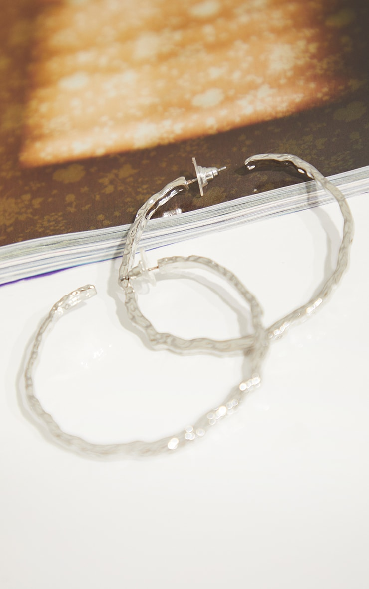 Silver Hammered Hoop Earrings 3