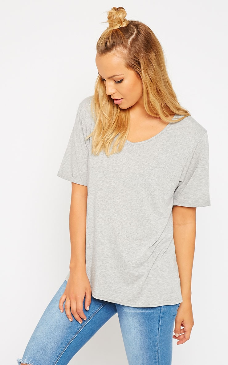 Basic Grey V-Neck Roll Sleeve T-Shirt 1