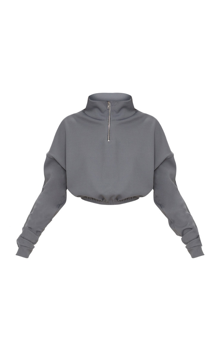 Grey Rib Zip Front Long Sleeve Sweater  3