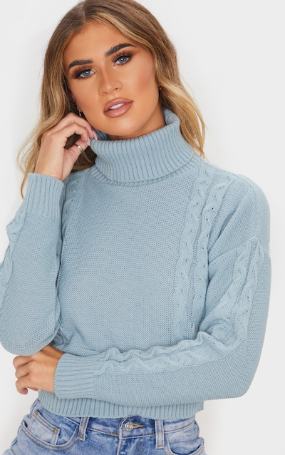 Dusty Turquoise Cable Detail Cropped Jumper