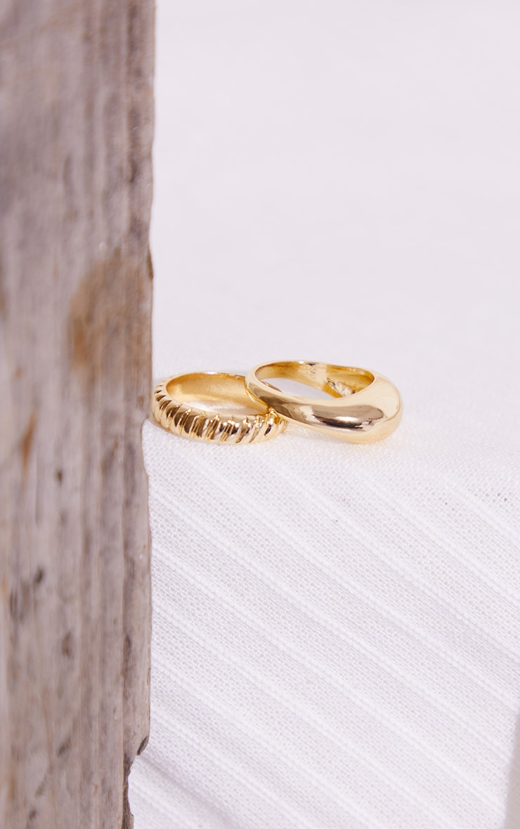 Gold Rounded 2 Pack Rings 3