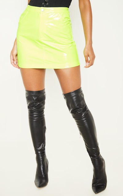 Neon Yellow Vinyl Mini Skirt