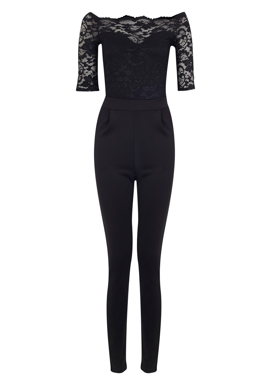 Leila Black SS Lace Jumpsuit 5