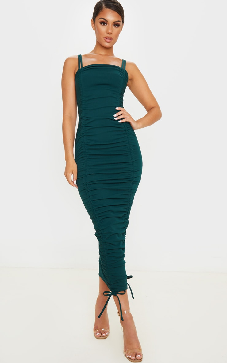 Emerald Green Strappy Ruched Midi Dress 1