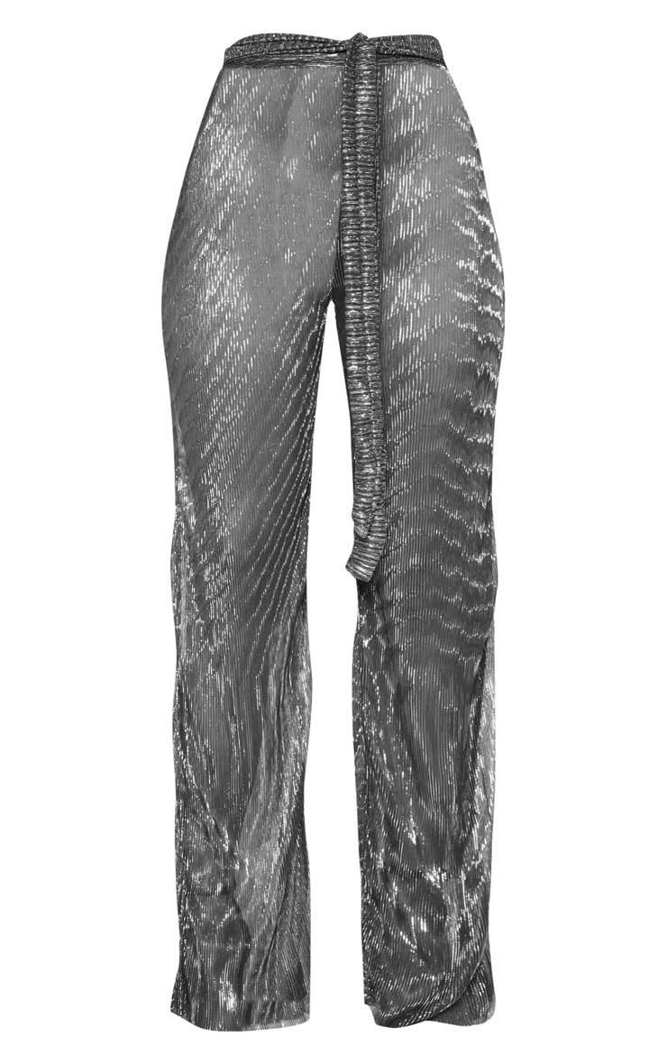 Pantalon ample plissé noir metallisé noué à la taille 3