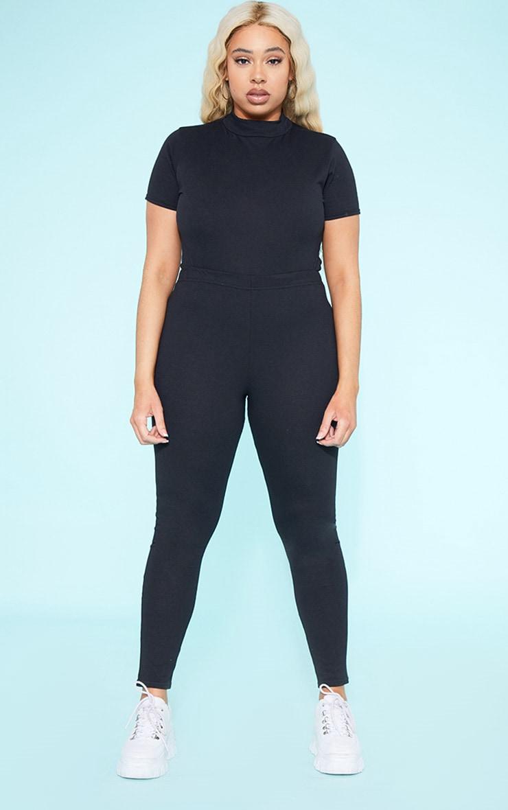 RECYCLED Plus Roll Neck Short Sleeve Bodysuit Black  5