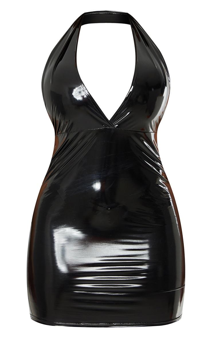 Shape Black Vinyl Halterneck Plunge Bodycon Dress 5