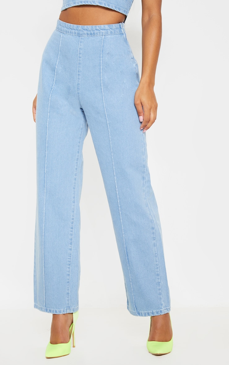 Light Blue Wash Wide Leg Jeans 3
