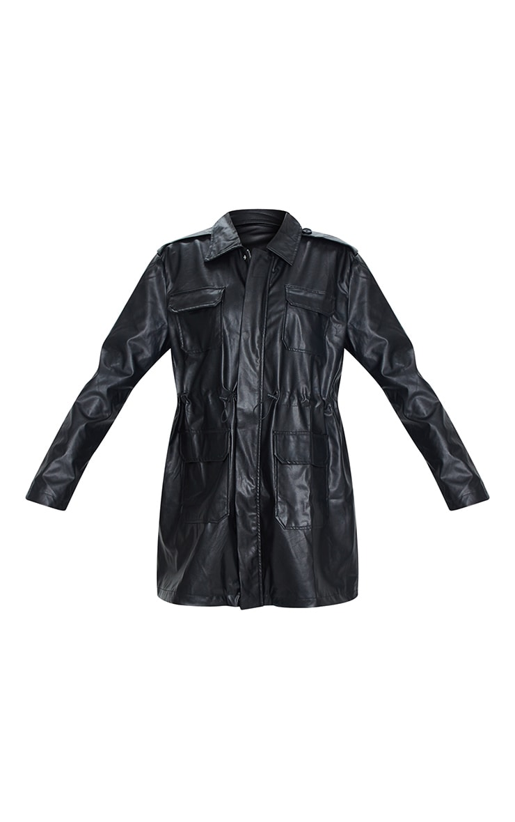 Black Faux Leather Trench Jacket 5