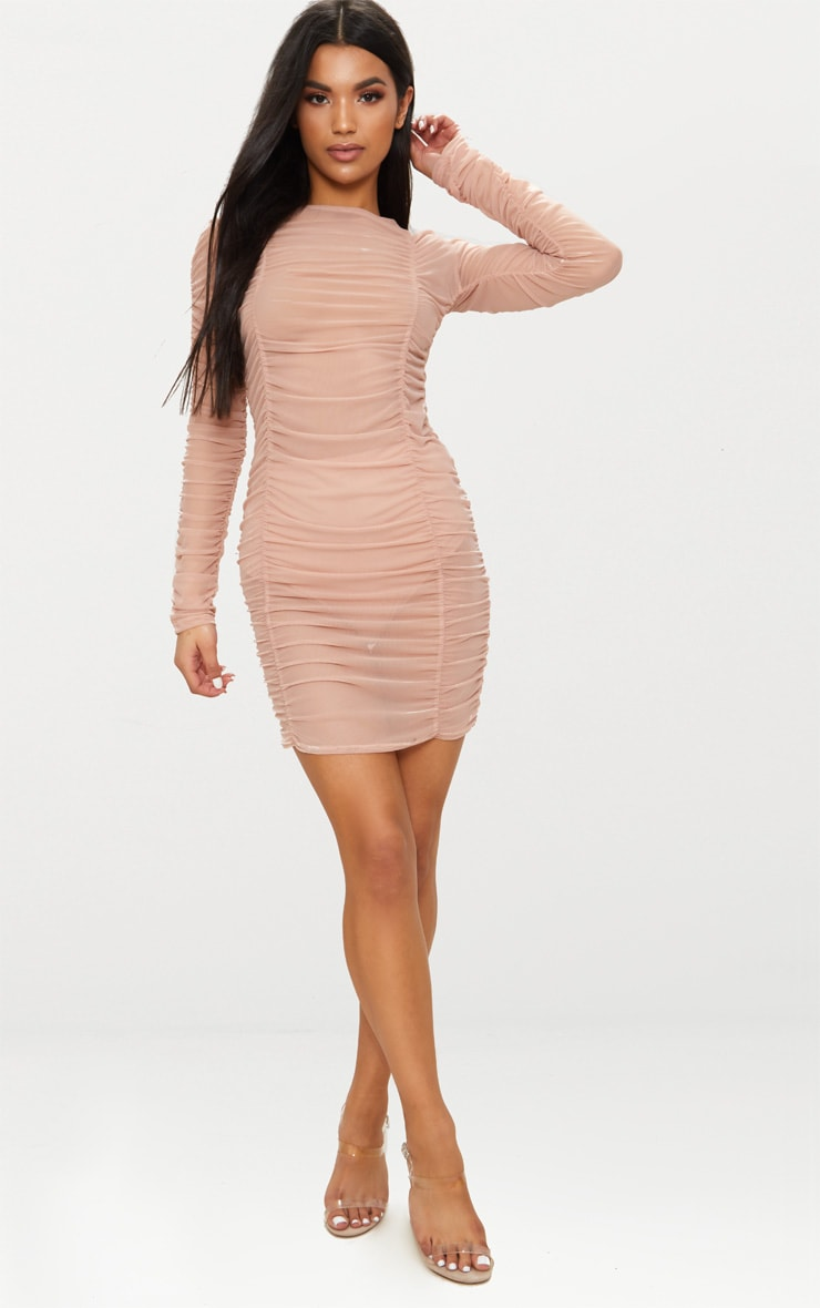 Nude Sheer Mesh Ruched Long Sleeve Bodycon Dress 4
