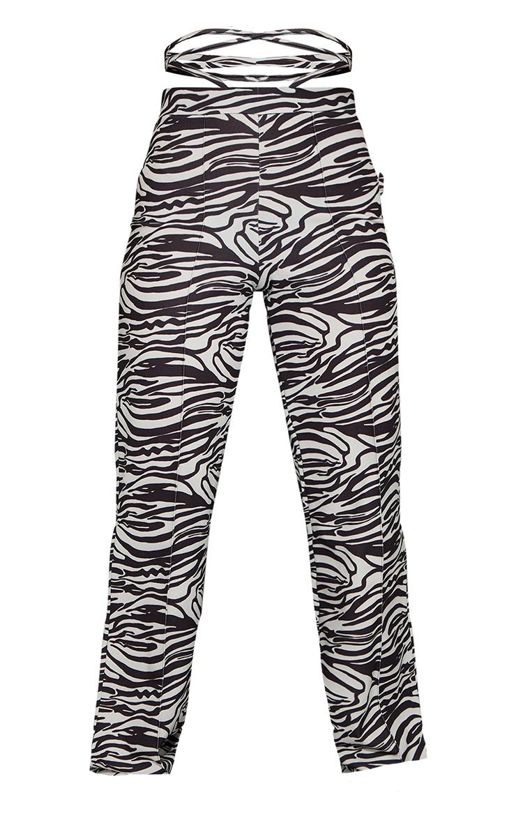 Black Zebra Tie Waist Straight Leg Trousers 5