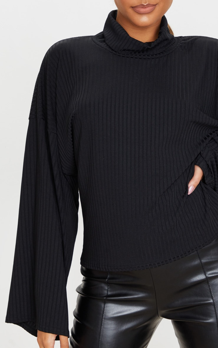 Black Roll Neck Oversized Sweater 4