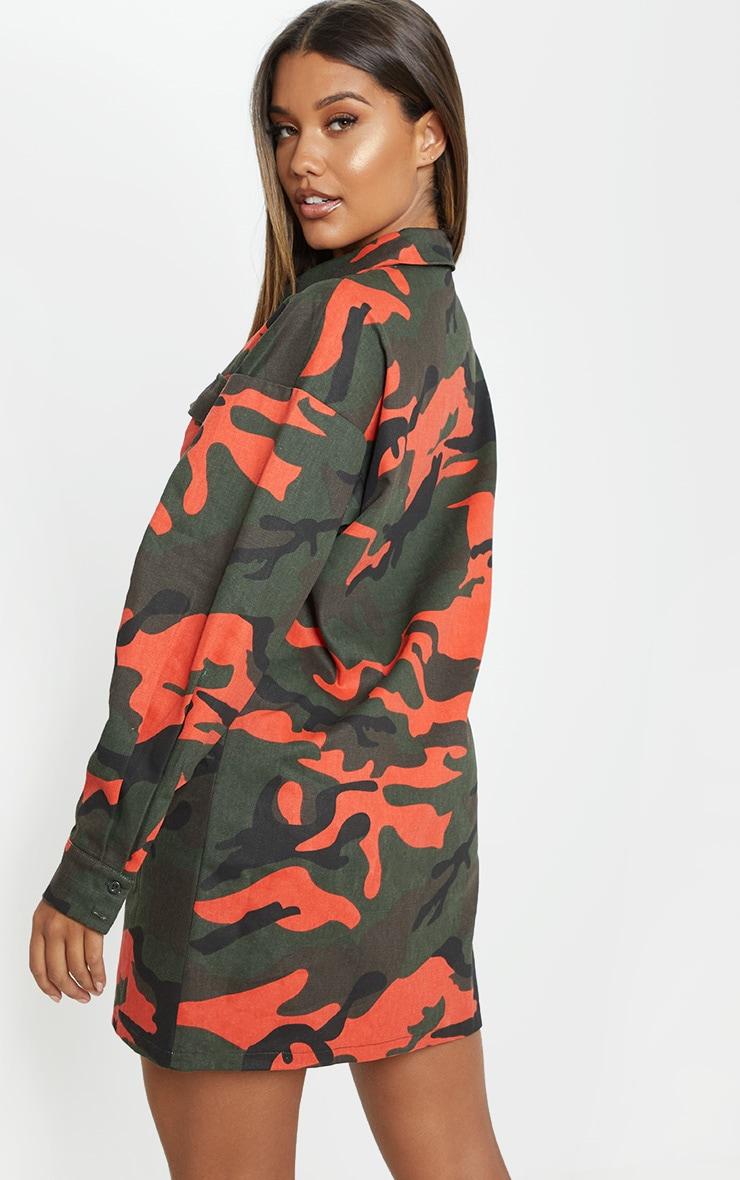 Green Camo Printed Cargo Shirt Dress 2