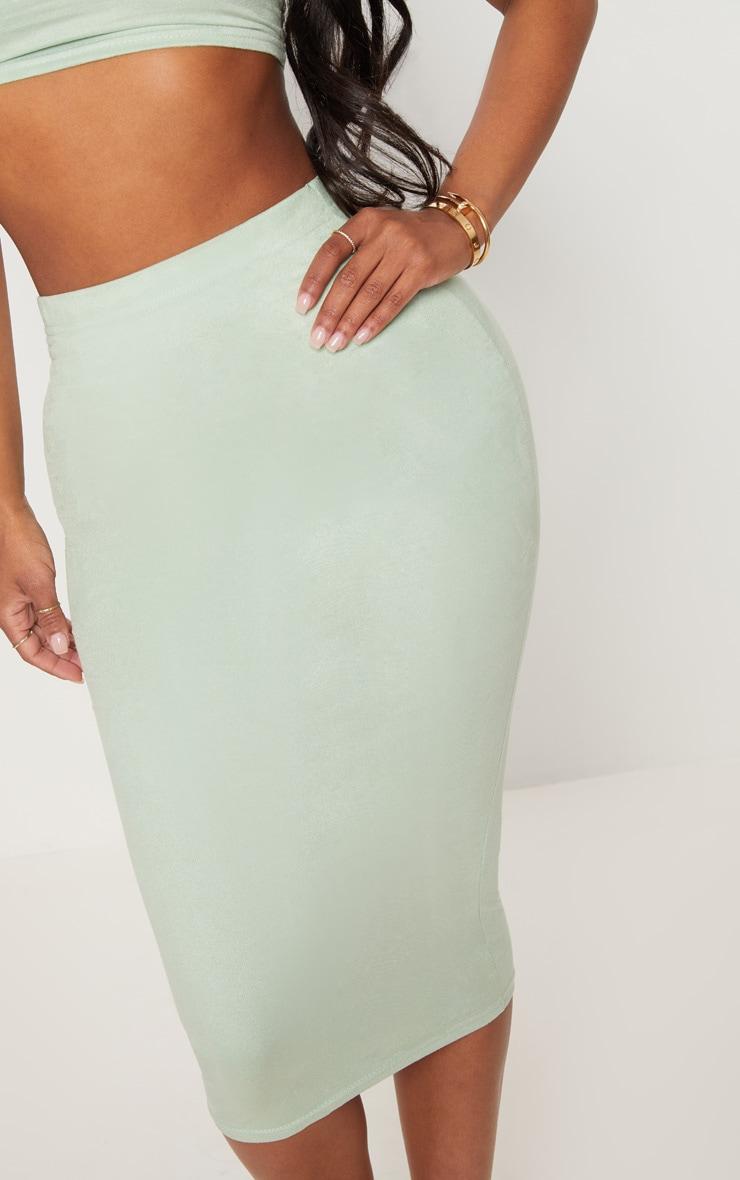 Shape Sage Green Faux Suede Midi Skirt 5