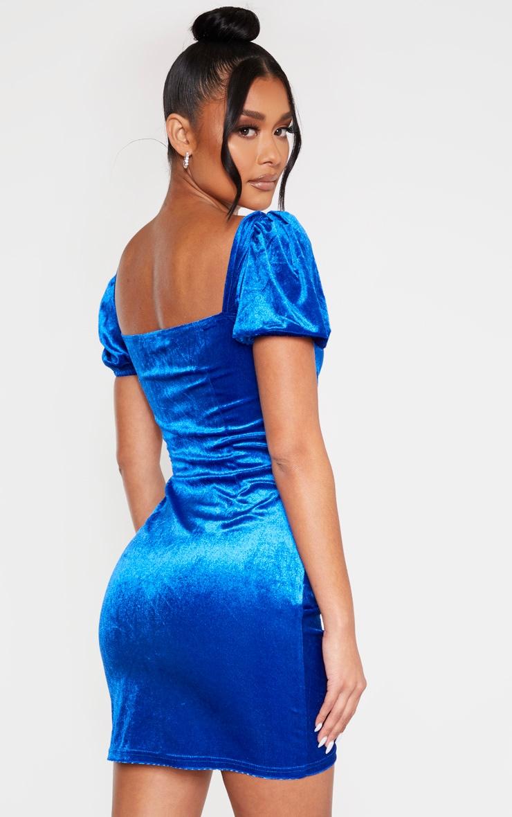 Cobalt Velvet Ruched Button Detail Bodycon Dress 2