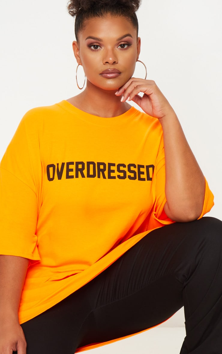 Plus Orange Overdressed Slogan T Shirt 5