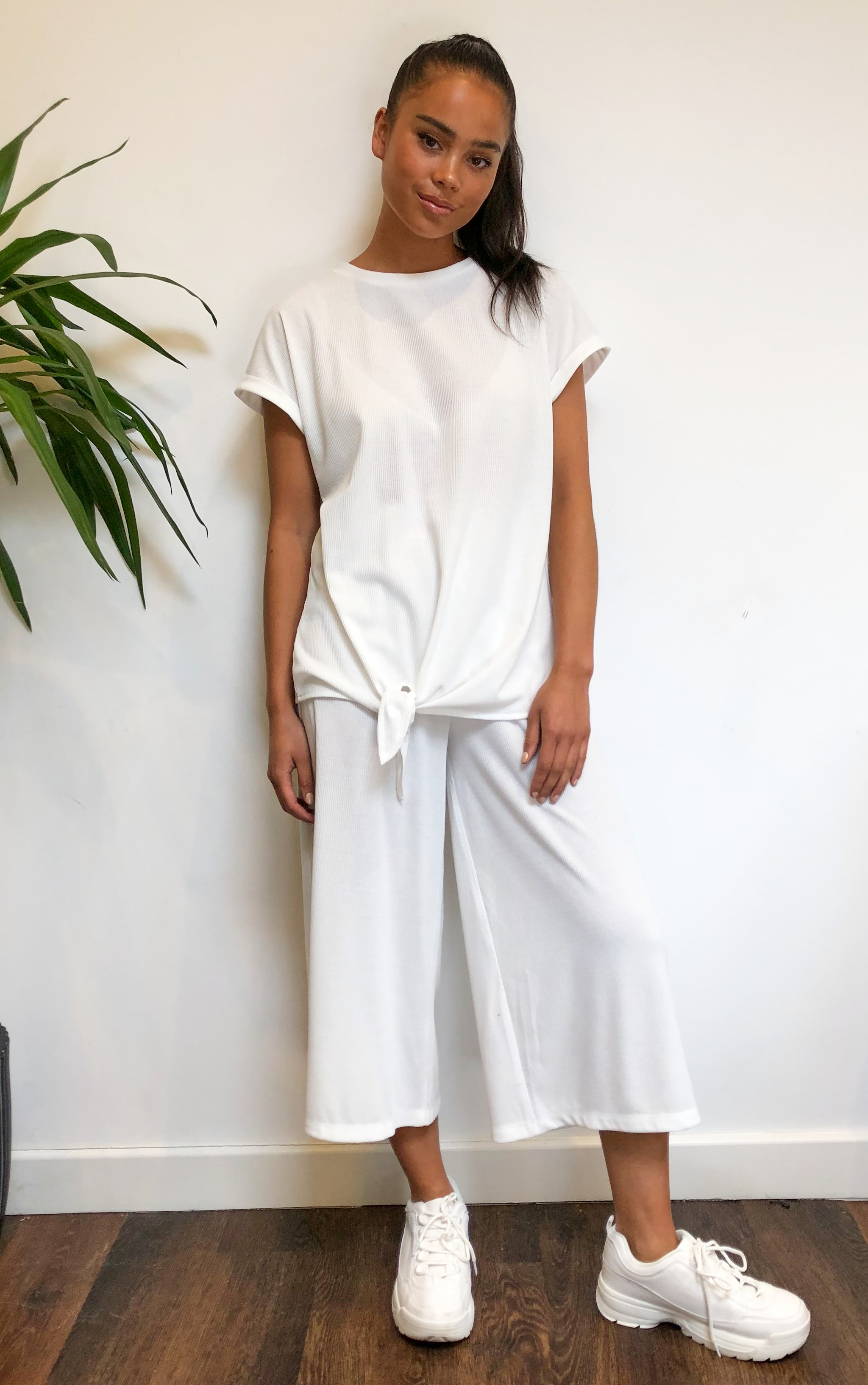 Cream Ribbed High Waist Culottes 1