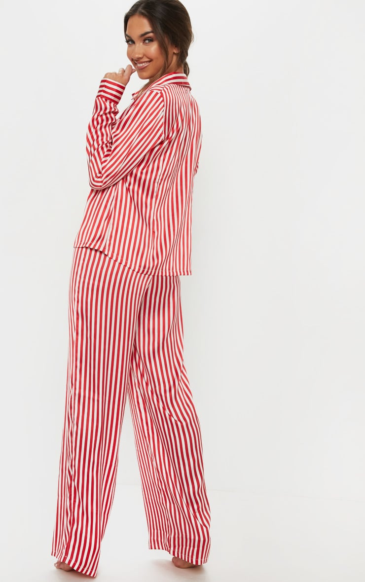 Red & White Stripe Wide Leg PJ Set 2