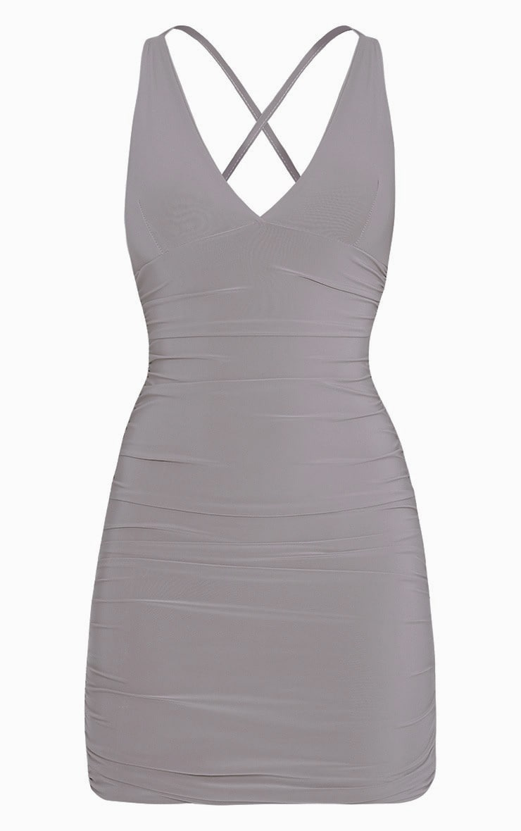 Agness Grey Cross Back Ruched Bodycon Dress 3