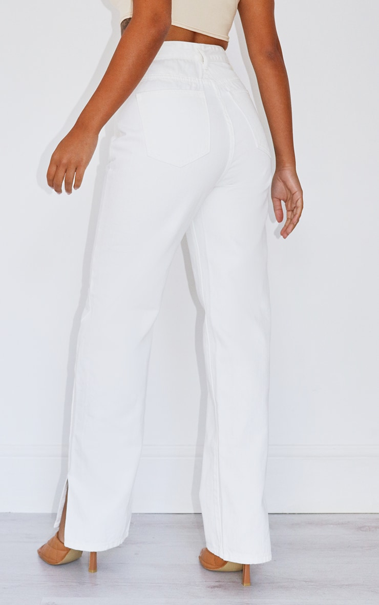 Petite White Split Hem Denim Jeans 3