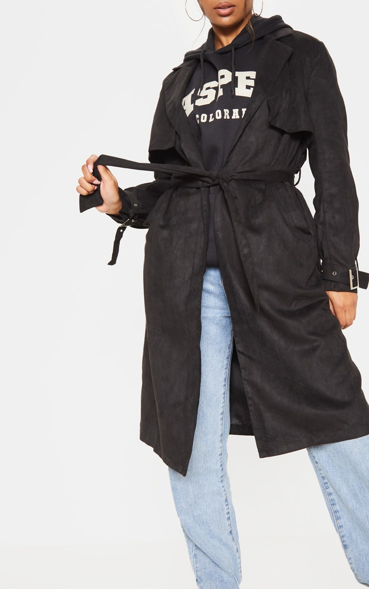 Black Faux Suede Trench  5