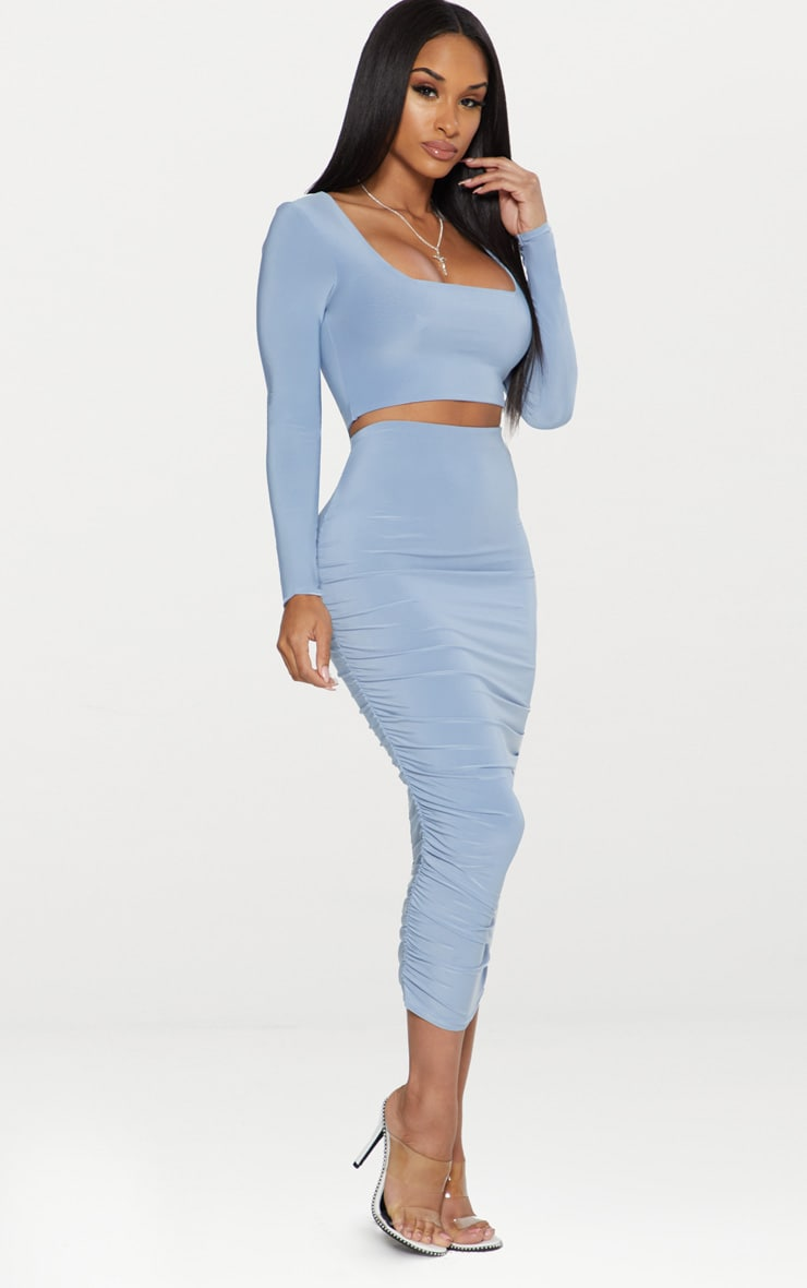 Dusky Blue Second Skin Square Neck Long Sleeve Crop Top  4
