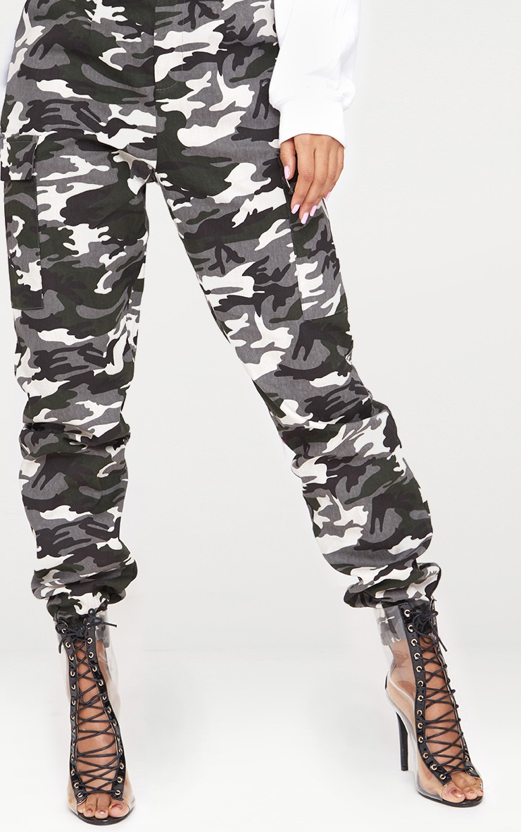 Grey Camo Print Cargo Trousers 5