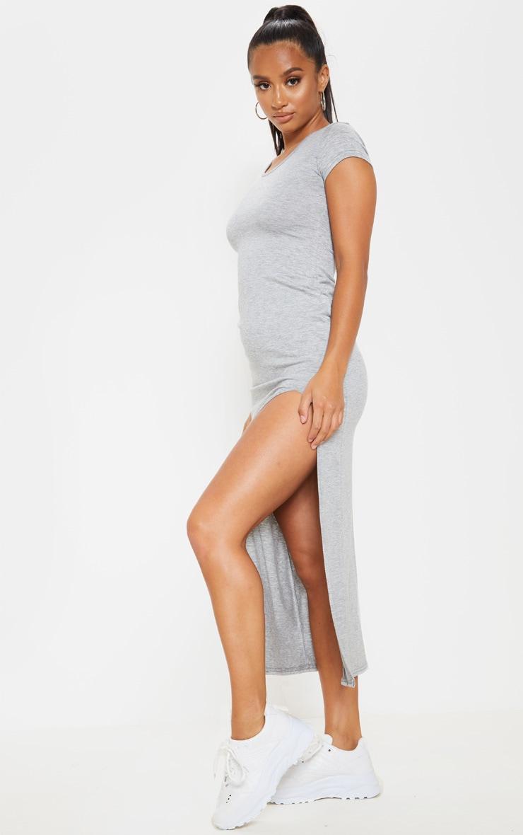 Petite Grey Marl Jersey T Shirt Midi Dress  3