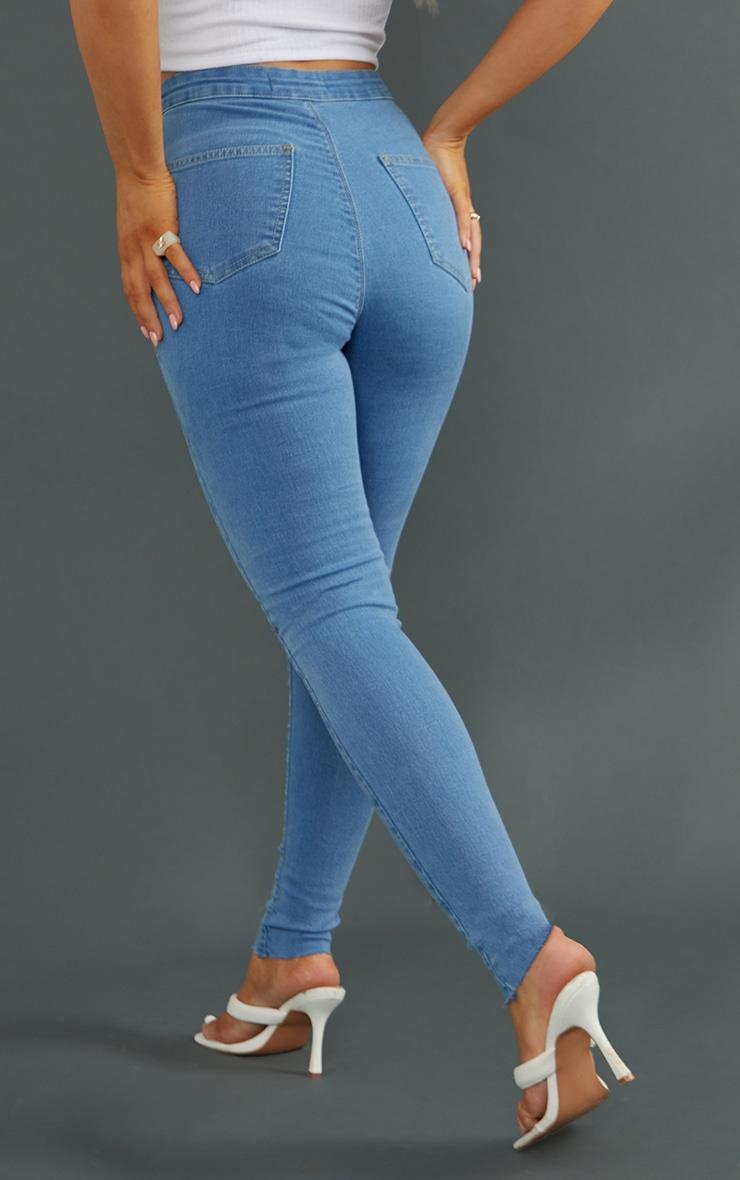 PRETTYLITTLETHING Light Blue Wash Raw Hem Knee Rip Disco Skinny Jeans 3