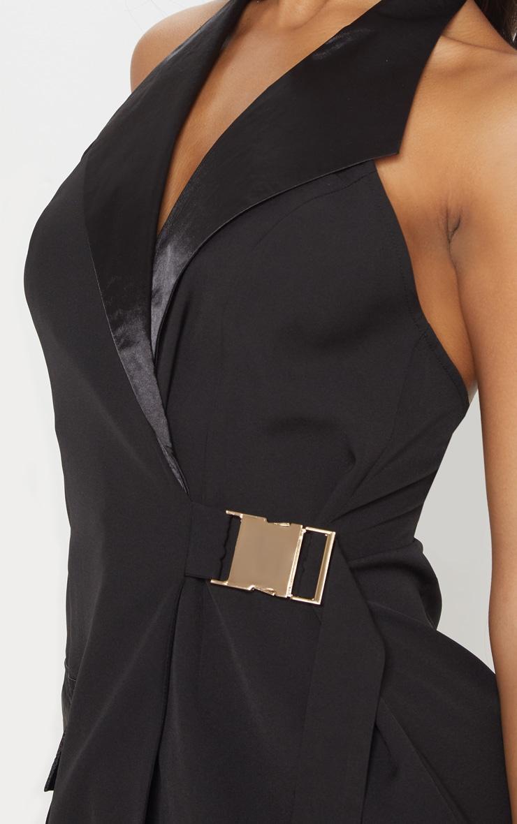 Black Satin Lapel Halterneck Blazer Dress 5