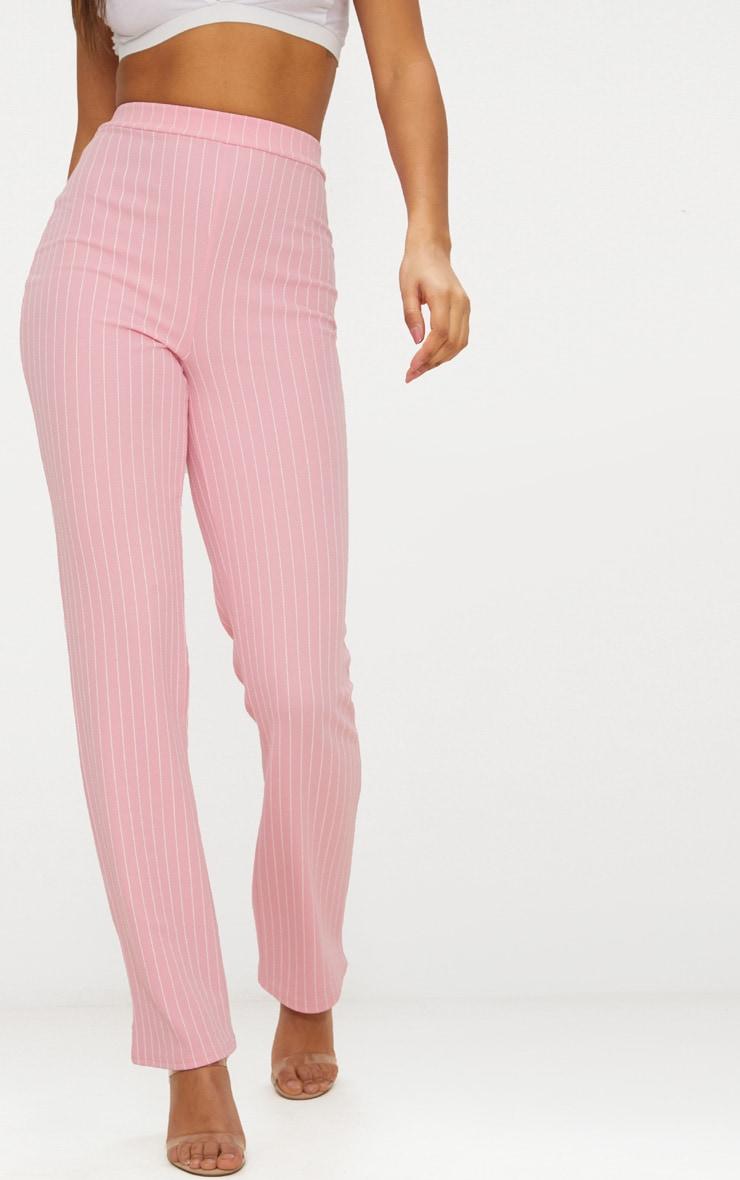 Pink Pin Striped Straight Leg Trouser  2