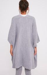 Yazmine Grey Chunky Knit 3/4 sleeve Wrap Cardigan 2