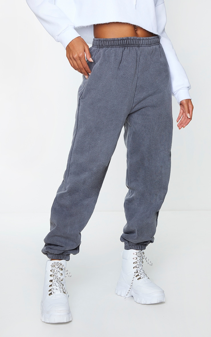 Grey Washed Effect Casual Joggers 2