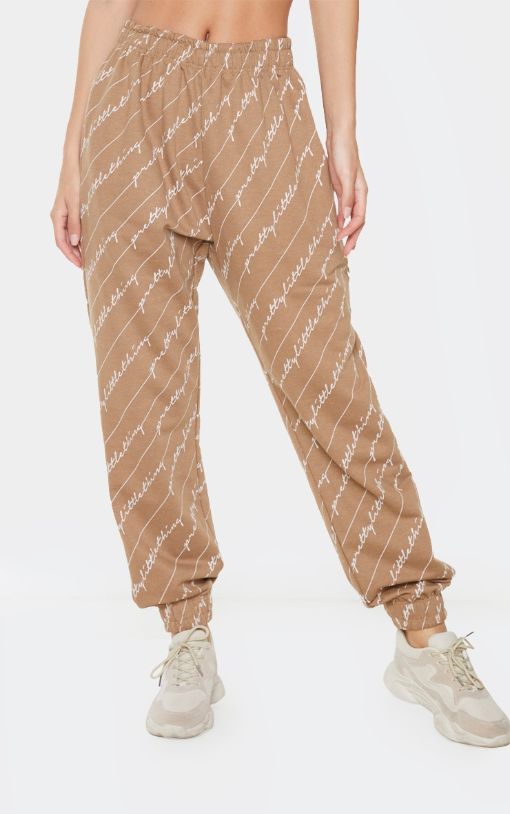 Taupe PRETTYLITTLETHING Printed Joggers 2