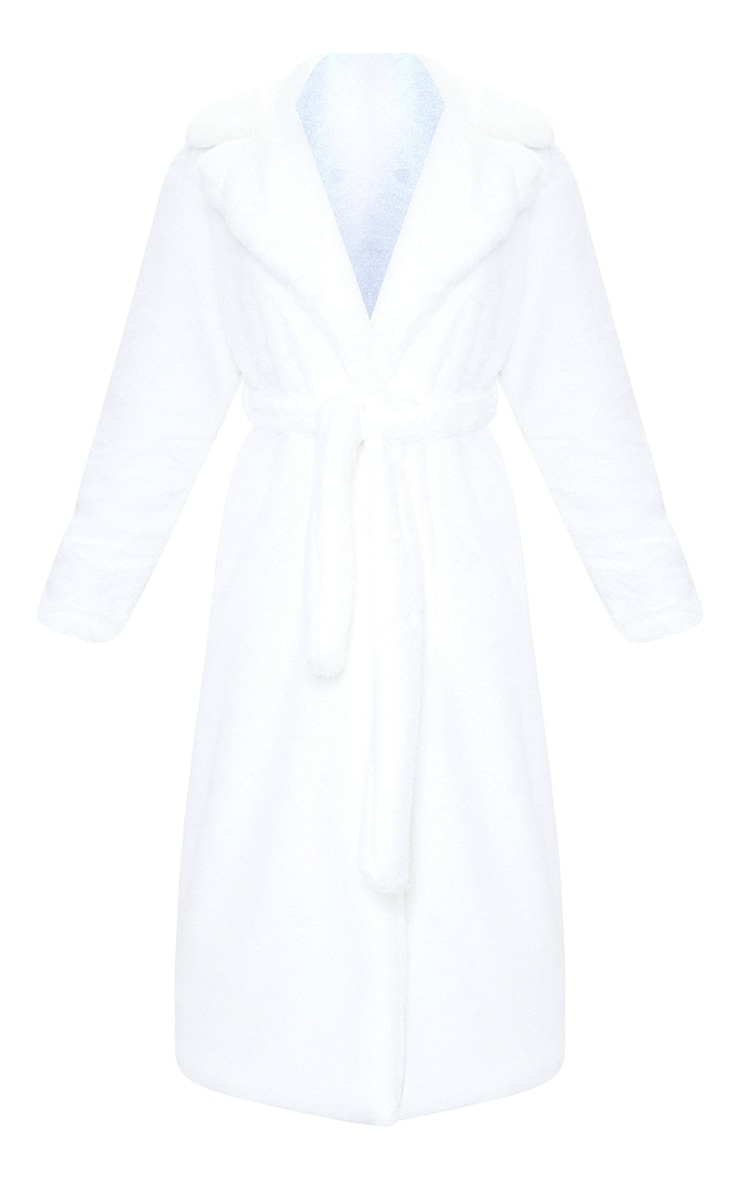 Tall White Belted Faux Fur Coat 5