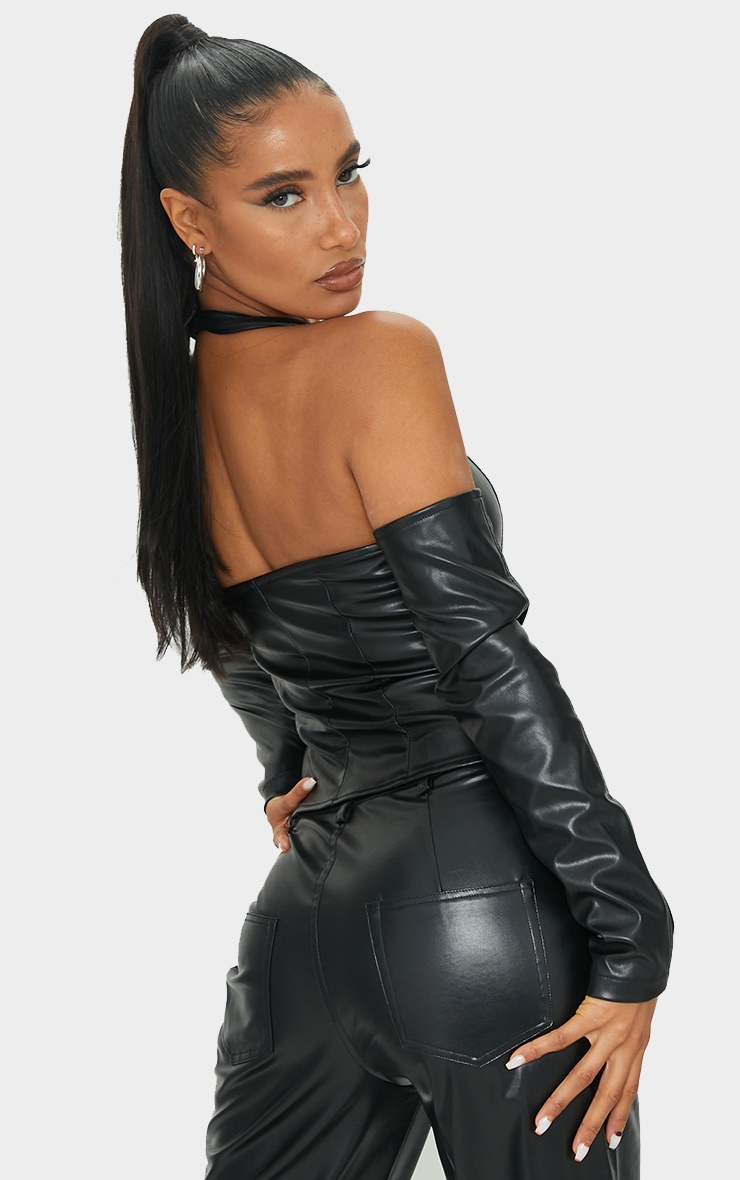 Black PU Halterneck Hook And Eye Long Sleeve Corset 2