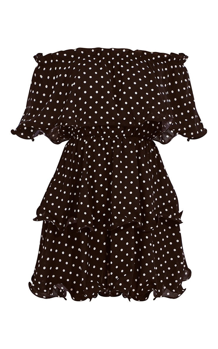 Black Polka Dot Bardot Ruffle Tiered Dress 5