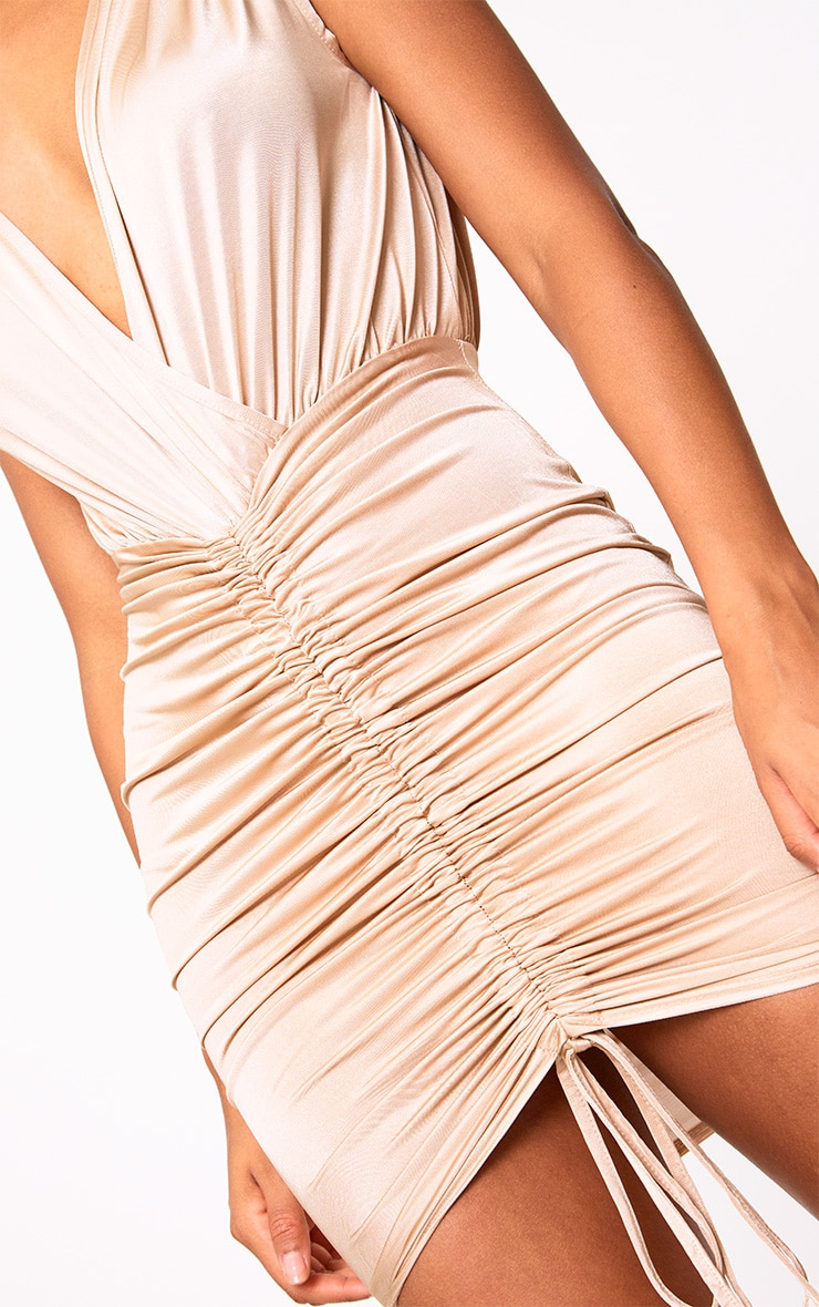 Nude Plunge Ruched Detail Midi Dress 5