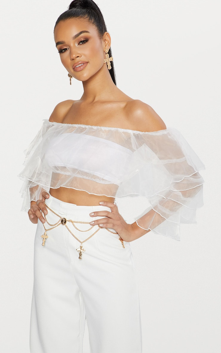 White Organza Frill Sleeve Bardot Crop Top  1