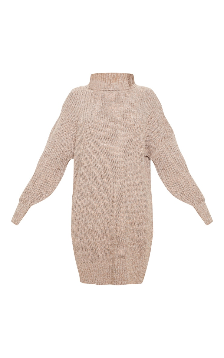 Camel Oversized High Neck Knitted Sweater Dress  3