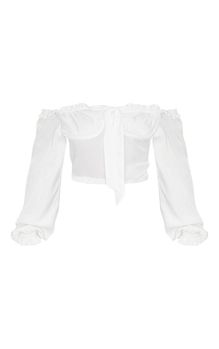 White Satin Frill Edge Long Sleeve Blouse 3