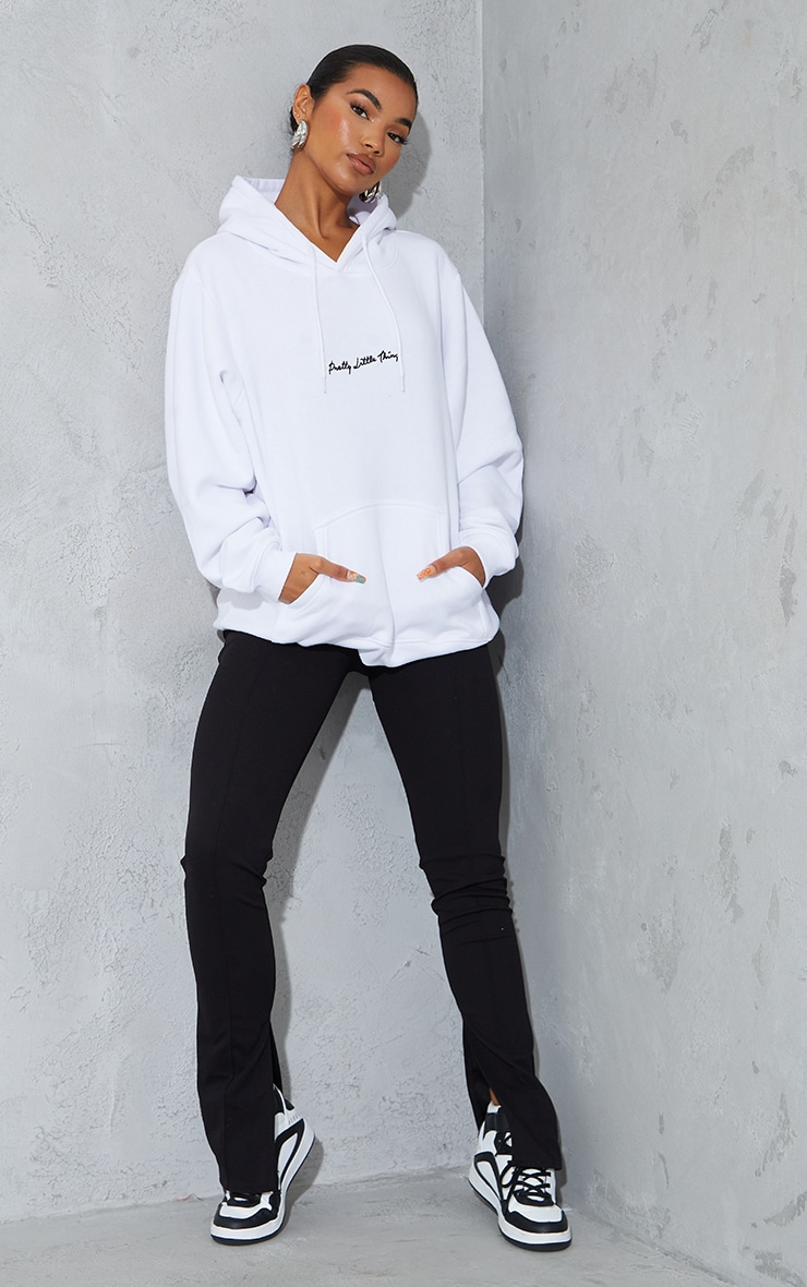 PRETTYLITTLETHING White Embroidered Oversized Hoodie 3