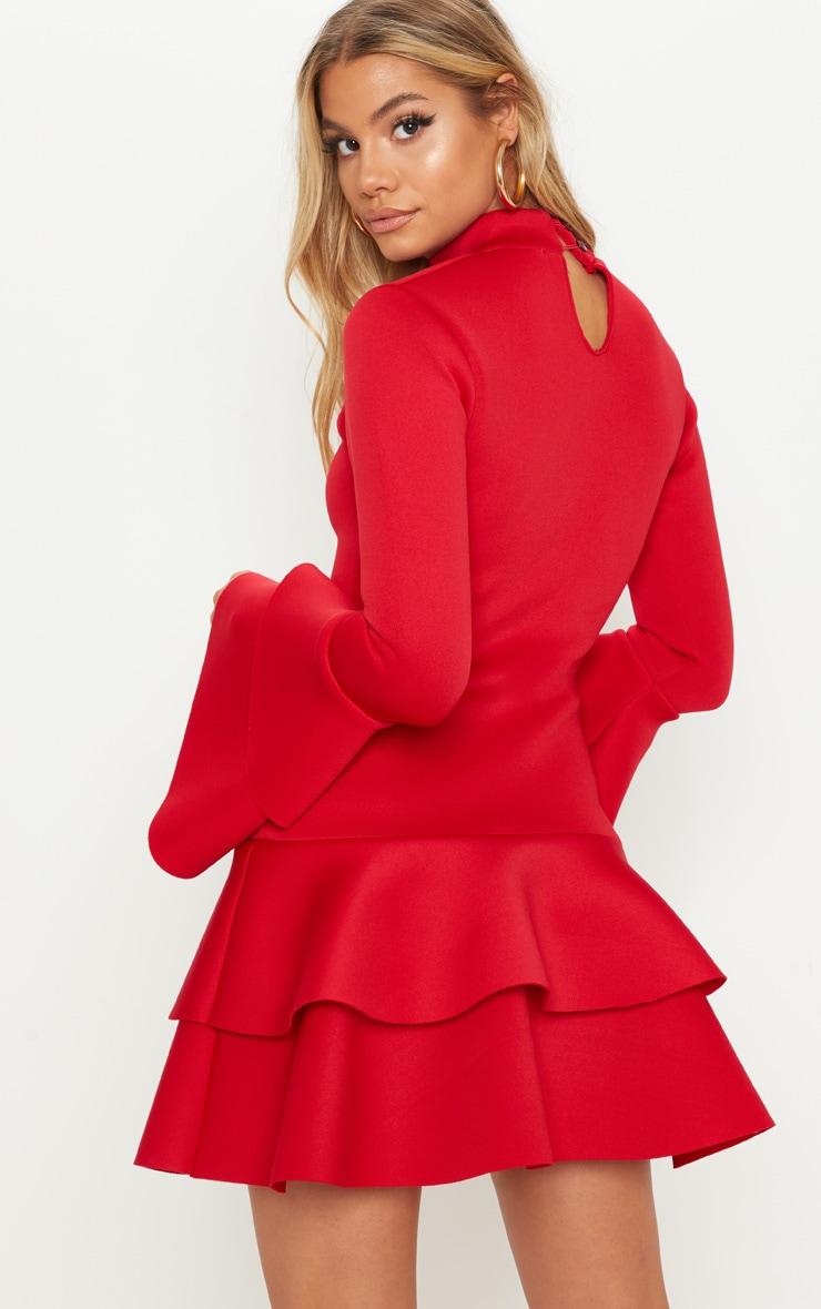 Red Bonded Scuba Ruffle Sleeve Bodycon Dress 2