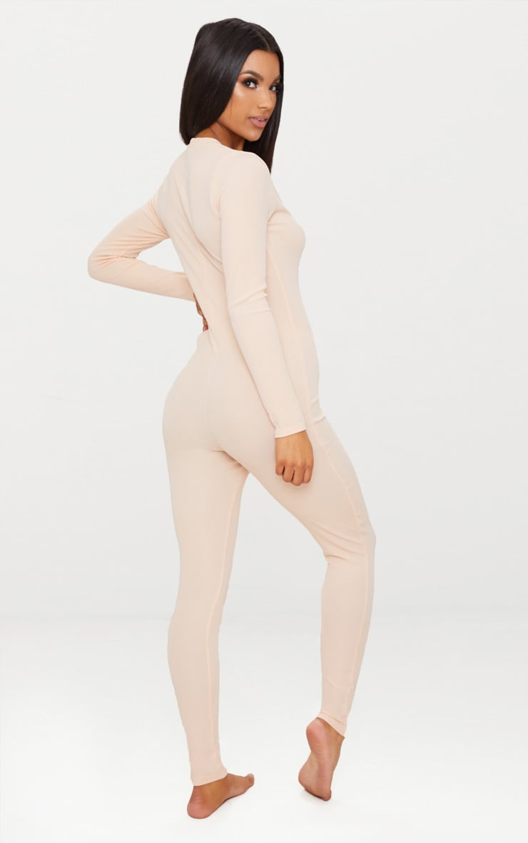 Pale Pink Ribbed Button Detail Onesie 2