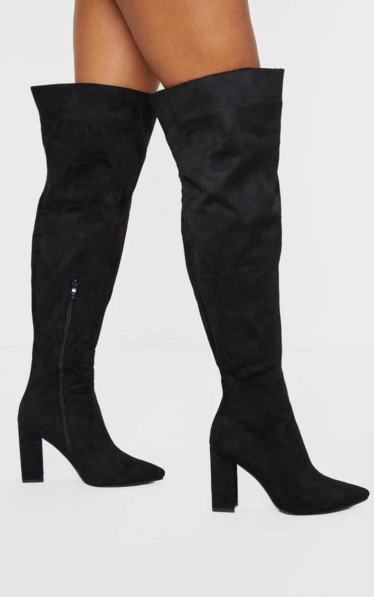 Black Wide Fit Block Heel Thigh High Boot 1